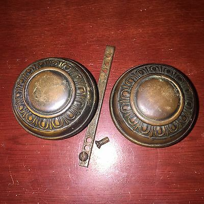 Antique Pair Of Victorian Mission Egg & Dart Design Brass Door Knobs
