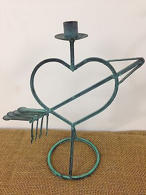 """Vintage Antique Look 12.75""""x 12"""" Cupid Heart Arrow Wrought Iron Candle Holder"""