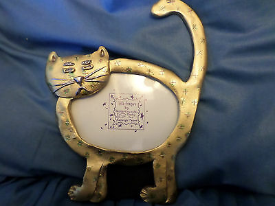HTF Gold Metal Cat Picture Frame Folk Frames by Ruth Reynolds Darby Made in USA