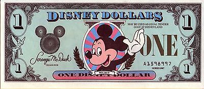 1987 AA $1 Disney Dollars Castle Back First Year of Issue Uncirculated Walt