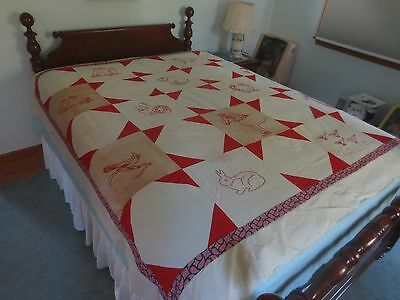 "Antique RED WORK EMBROIDERED Cotton QUILT TOP - 81"" x 81"""