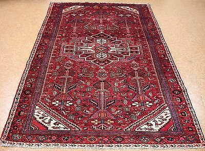 5 x 9 PERSIAN MALAYER Hand Knotted Wool RED BLUE TRIBAL Oriental Rug