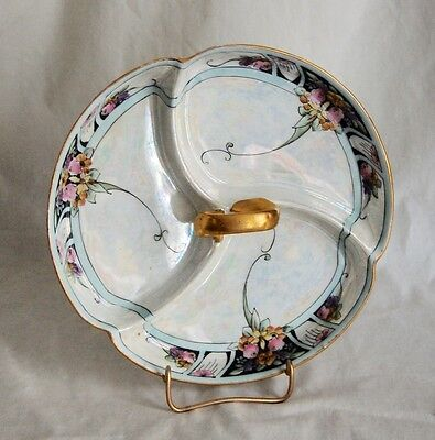 Antique Victorian Hand Painted Lusterware German Porcelain Serving Dish