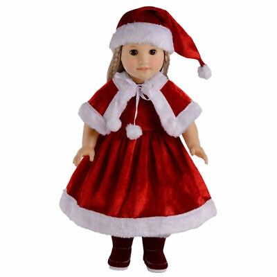 Christmas Dress Hat Shawl Clothes Set for 18 Inch Doll Kids Toys