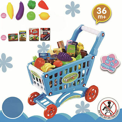 Kids Supermarket Plastic Trolley Shopping Cart With Foods Pretend Play Toys Shop