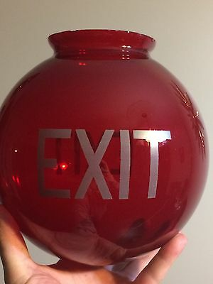 Vintage Ruby Red Theatre Exit Sign Globe - Double Sided - Nice !!