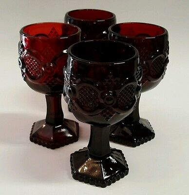 "4 Avon Cape Cod Ruby Red Glass Cordial Goblets 4.5""-MINT"
