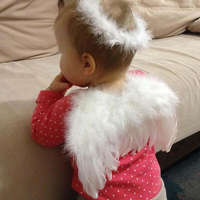 Baby Toddlers Kids White Costume Photo Props Feather Angel Wings Craft  Dress Up