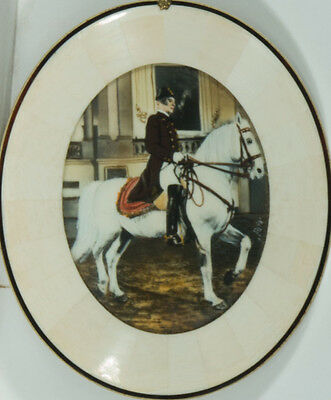 Oval Miniature Late 19th Century Mixed Media - Man on a Horse