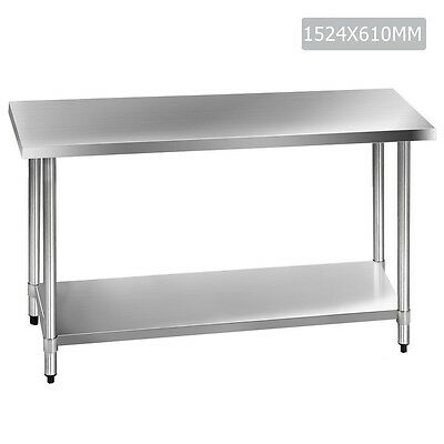 Kitchen Work Bench 430 Stainless Steel Table Restaurant Style Prep Table 1.5m