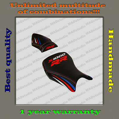 Custom Design Seat Cover BMW S1000RR 12-14 black+red-blue-white_strips 001