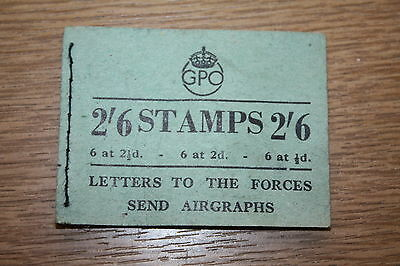 VINTAGE GPO STAMP BOOKLET 2/6 - WITH 2 BLUE 2 1/2d STAMPS