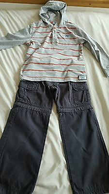 Trespass blue 2 in one trouser shorts & grey and orange top, age 3-4 years