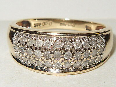 Beautiful mens 9ct yellow gold 0.50ct Diamond pave cluster band ring