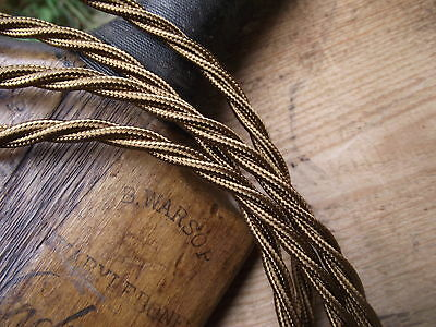 10 mts Antique Style 3 core Gold Fabric Covered Electrical Cable flex light lamp