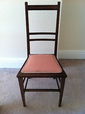 Edwardian Mahogany  Bedroom Chair With Inlay And  Pink Upholstery