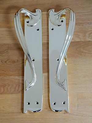 "1st PAIR 15"" BRASS ART NOUVEAU DOOR PULL HANDLES (3 AVAILABLE) PLATES KNOBS"