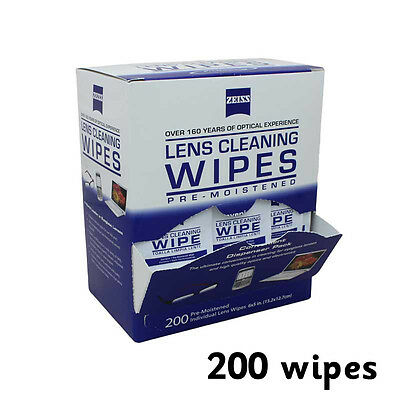 200 Zeiss Pre-moistened Lens Cleaning Cloths Wipe Glasses Optical Camera Cleaner