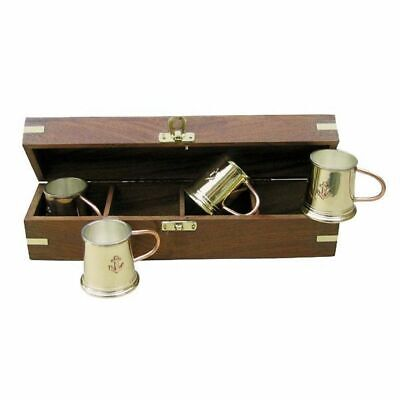 G4604: 4 Maritime Rum Becher in Edelholz Box, Rum Becher Set Messing versilbert