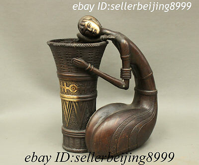Folk Chinese Bronze Copper Art Belle Maiden Statue Bamboo Basket Brush Pot Vase