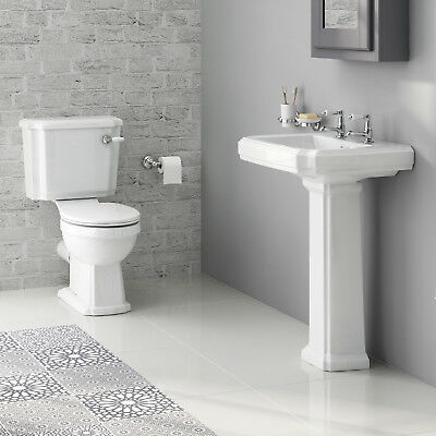 Traditional Gloss White Basin and Pedestal & Close Coupled Toilet Bathroom Suite