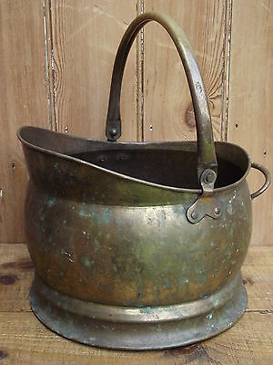Old Brass Coal Scuttle fireplace old fire place log burner stove basket box