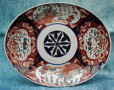 Antique Japanese Imari Large Oval Hand painted Plate or Shallow Dish