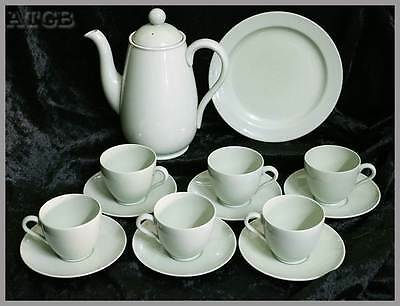 Vintage 1956 Spode Flemish Green 6 person coffee set pot & 6 duos & plate