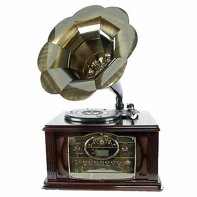 Back To The 50's Antique Trumpet Horn Wooden Turntable Phonograph Record Player