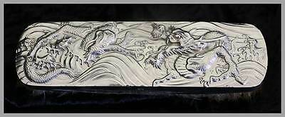 Vintage Japanese silver tone dragon design clothes brush. Very unusual