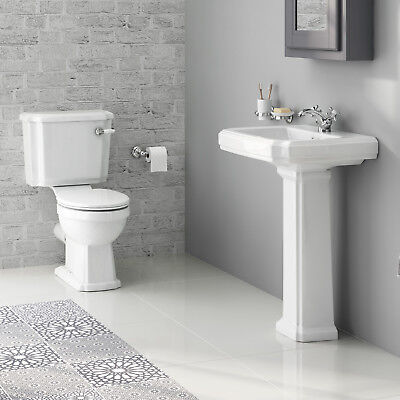 Traditional Bathroom Gloss White Basin and Pedestal & Close Coupled Toilet