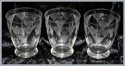 Vintage 1940s set of 3 etched fine glass large tumblers glasses 9.5cm tall