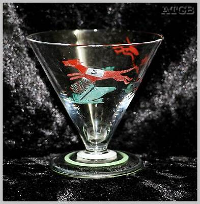 Vintage small greyhound racing hand painted shot liqueur glass.