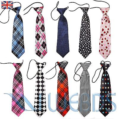 Boys/Kids/Childrens Satin Tie NeckTie Elastic Wedding Prom Party School Gift New