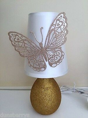 Gold Glittered 3d Butterfly Girls/Childrens Sparkly Bedroom/Bedside Table Lamp