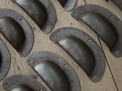 10 Vintage Style Pressed Cup Handles drawer pull knobs kitchen pine desk chest