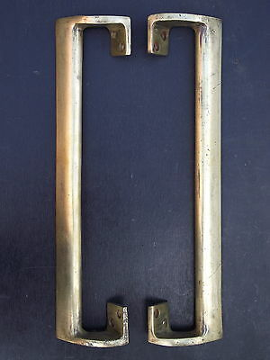 Pair of Reclaimed Vintage Brass Door Pull Handles knobs push plate old large