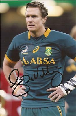 SOUTH AFRICA RUGBY: JEAN DE VILLIERS SIGNED 6x4 ACTION PHOTO+COA *SPRINGBOKS*