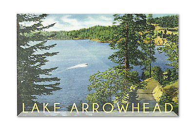 Lake Arrowhead CA North Shore LP Artwork (6x4 Acrylic Art Block)