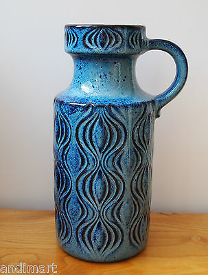1960s - 1970s Really Retro Blue Onion Vase - West German - Very Good Condition