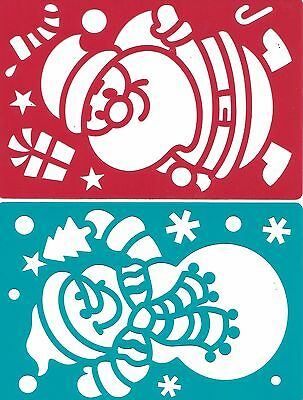 CHRISTMAS stencil SET OF 6 tree, stocking, penguin, reindeer santa claus snowman