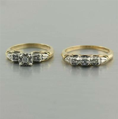 Natural Diamond Wedding rings Set 14k yellow white gold 3 stone band 0.10 cwt