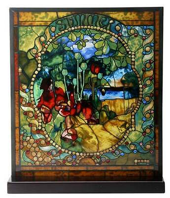 """Tiffany Style THE FOUR SEASONS """"SUMMER"""" Stained Art Glass Window Panel Display"""