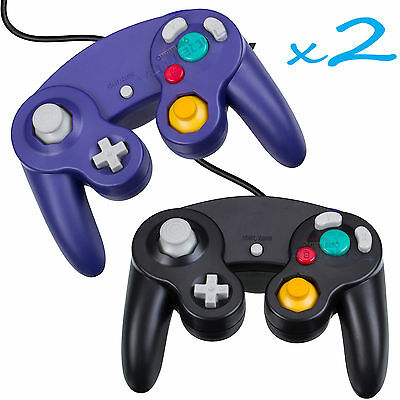 2 Brand New Controller for Nintendo GameCube or Wii -- BLACK and Blue