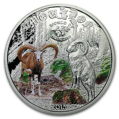 Cook Islands 2015 $2 World of Hunting Mouflon 0.5 Oz Proof Silver Coin