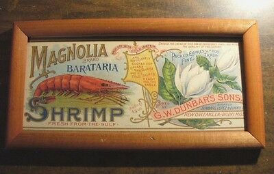 "12.5"" x 6.5"" FRAMED VINTAGE STYLE LABEL SHRIMP ART WALL HANGING"