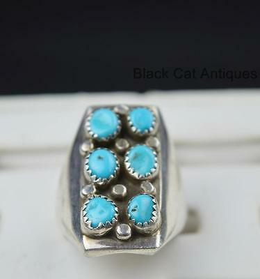 Hand Crafted Genuine Turquoise Sterling Silver Ring Sz 11.25 Signed R Navajo?