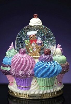 Christopher Radko Ginger Cake Delights Snow Globe Gingerbread Cupcake Xmas Deco
