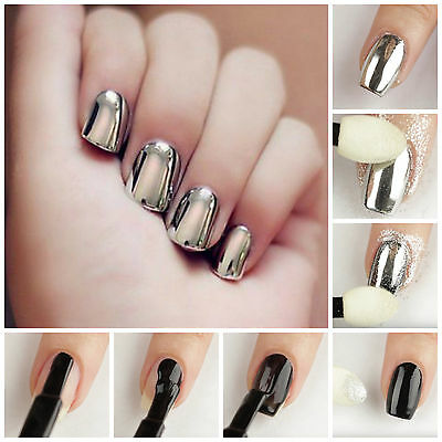 Silver Chrome Mirror Effect Nail Pigment Powder New Trend Nails Various Sizes UK