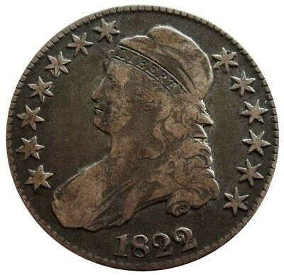 1822 Silver United States Capped Bust Half Dollar Coin Very Fine Condition